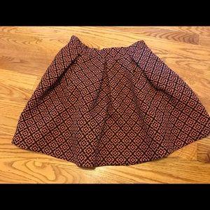 Black and Orange Printed Skirt